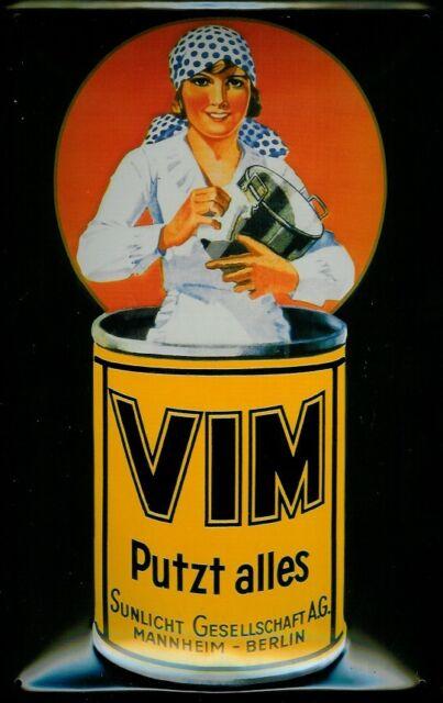 VIM putzt alles Blechschild Schild Metal Tin Sign 3D geprägt gewölbt 20 x 30 cm