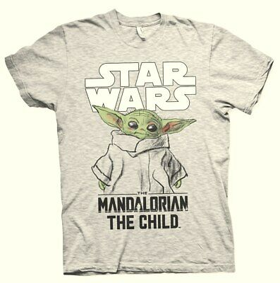Star Wars The Mandalorian Child Sketch Uomo T-Shirt Grigio Sport Regular
