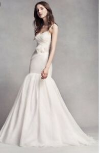 Image Is Loading White By Vera Organza Mermaid Wedding Dress