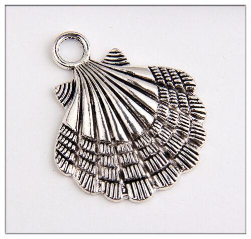 10 Shell Tibetan Silver Charms Pendants Jewelry Making Findings EIF0173