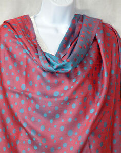 Red-turquoise-double-sided-silk-blend-dot-Shawl-Stole-Wrap-from-India
