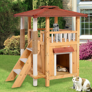 Cat House Pet Shelter Roof Condo Wood Steps Balcony Puppy Stairs ...