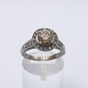 14K-White-Gold-1-40-ctw-Champagne-Pave-039-Diamond-Halo-Engagement-Ring-Sz-5-75