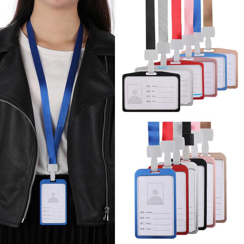 Aluminum Pocket Credit ID Card Badge Tag Holder Pass Case Neck Strap Lanyard 1pc
