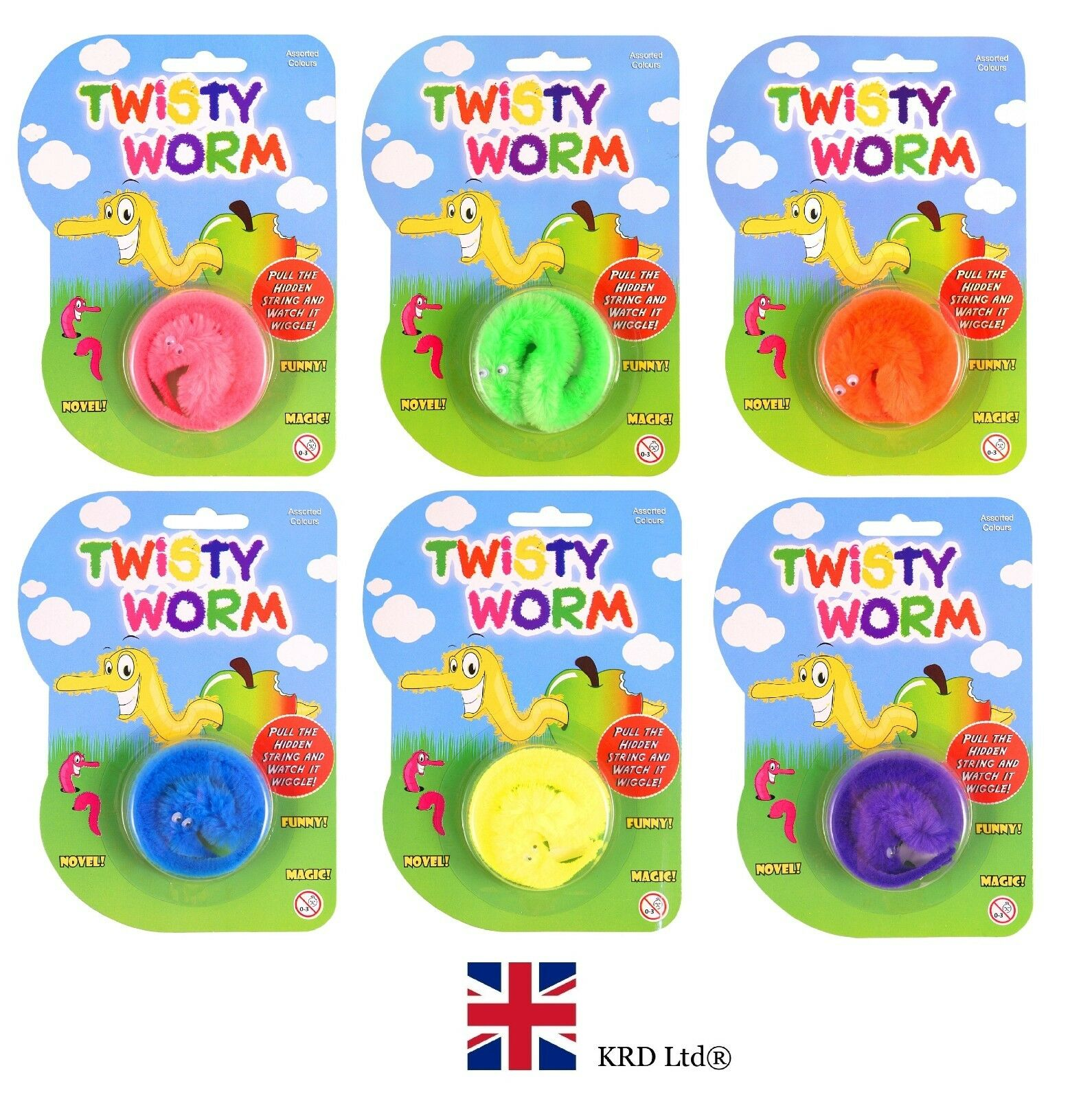 TWISTY WRIGGLER WORM Kids Birthday Party Bag Fillers Favors Loot Gift Toys UK