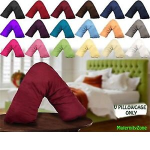 V Shaped Polycotton Orthopaedic Back Support Nursing Pregnancy Pillow Case Cover