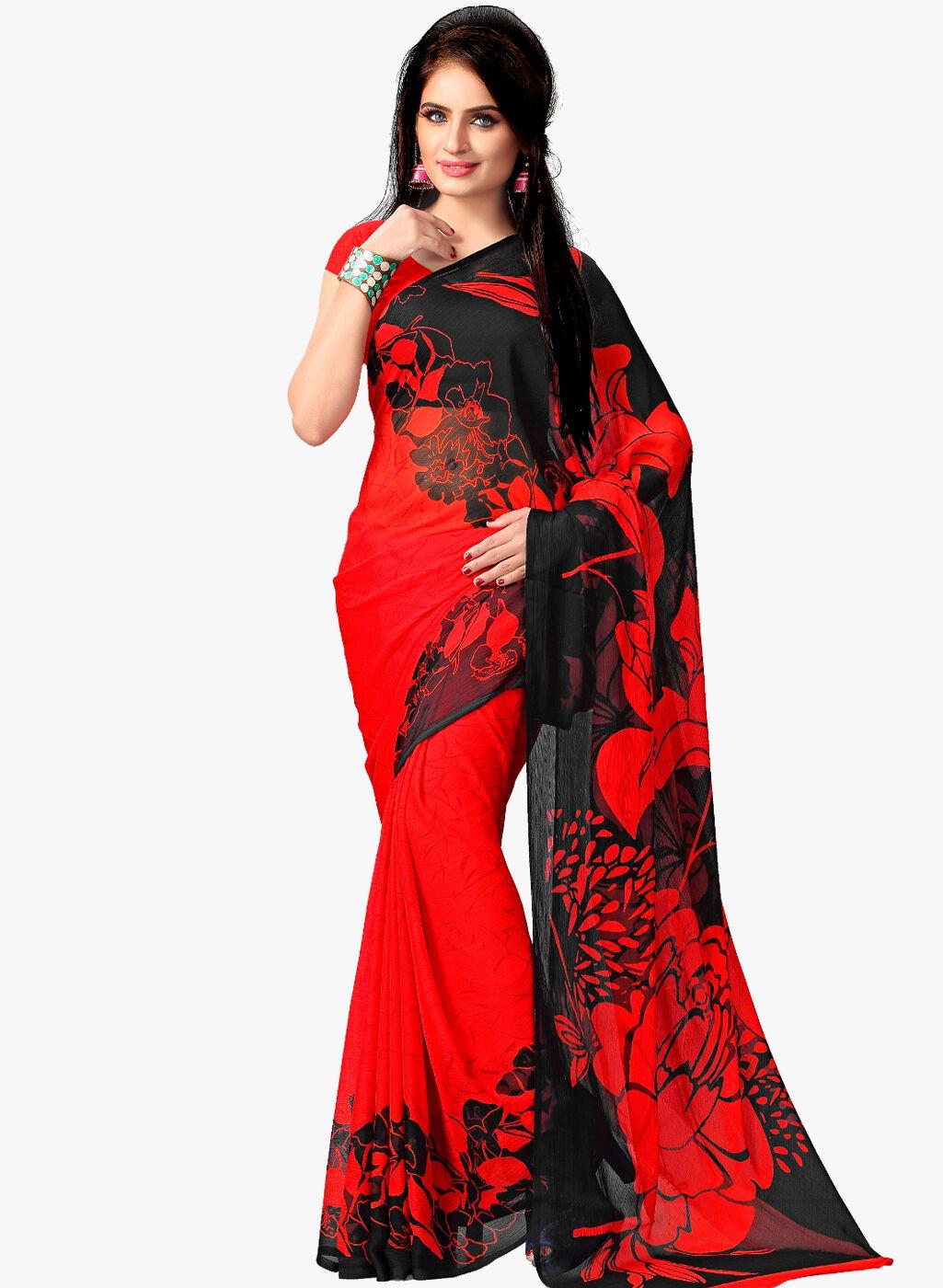 Red Black Printed Chiffon Saree Party Wear Indian Pakistani Designer Sari