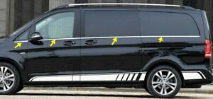 Fuer-Mercedes-Vito-W447-L1-L2-ab-2014-Fensterleisten-8tlg-aus-Edelstahl-Chrome