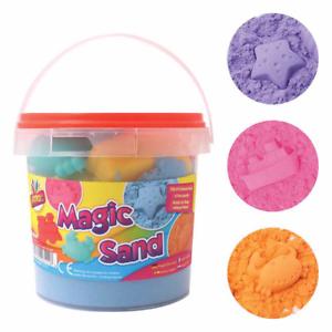 Magic-Sand-Beach-Moulds-Magic-Childrens-Kids-Moving-Play-Set-1kg-Tub-6-Moulds
