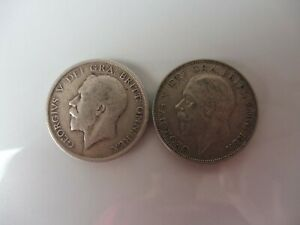 2-alte-Munzen-England-Half-Crown-1916-und-1935