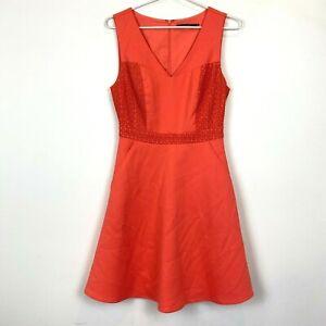 Portmans-Womens-Orange-Sleeveless-Lined-Dress-with-Pockets-Size-8