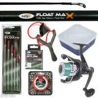 Float Rod & Reel Set 10ft 3pc With 10 Hooks, Shot, Floats, Maggot Box, Catapult