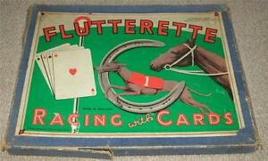 FLUTTERETTE-VINTAGE-1920-039-s-RACING-BOARD-GAME-WITH-CARDS