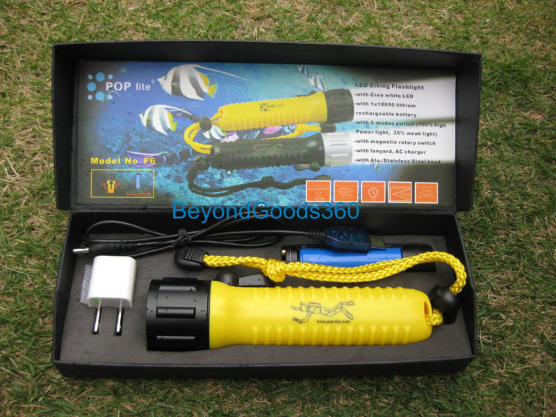 POP Lite F6 Waterproof CREE LED Lamp Rechargeable Diving Scuba Flashlight Torch