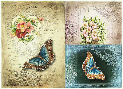 Rice Paper for Decoupage, Scrapbook Sheet, Craft Vintage Butterfly