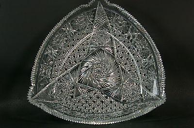 Beautiful Vintage Cut Crystal Glass Centerpiece Triangle Bowl