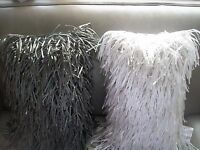Cynthia Rowley Pillow White Gray Bronze Rectangular Shag Fringe