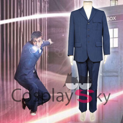 New Doctor 10th Doctor Who David Tennant Blue Suit Uniforms Cosplay