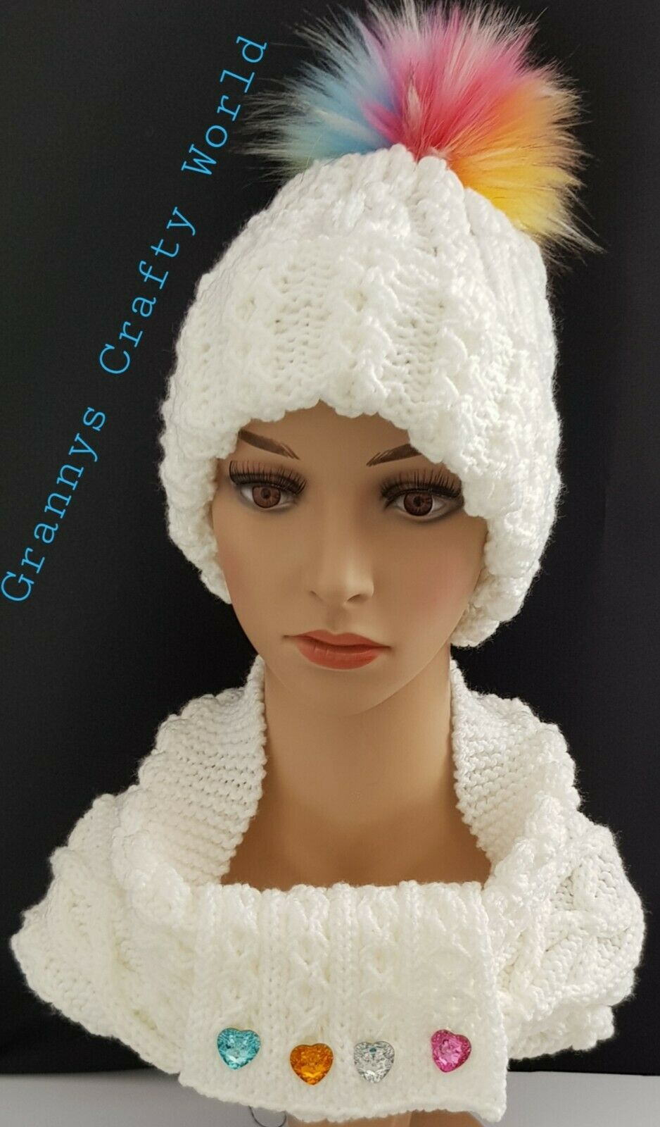 Hand Knitted Cable Blanco Grueso Beanie sombrero y redecilla