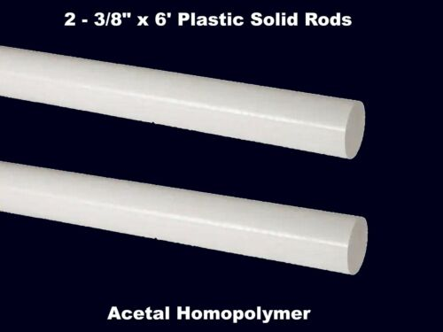 """Plastic Rods Solid Stock  3//8/"""" x 6/'  Strong Rigid Stable  White Acetyl 2"""