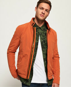 Neue Herren Superdry Lässige Premium Harrington Jacke Burnt Orange