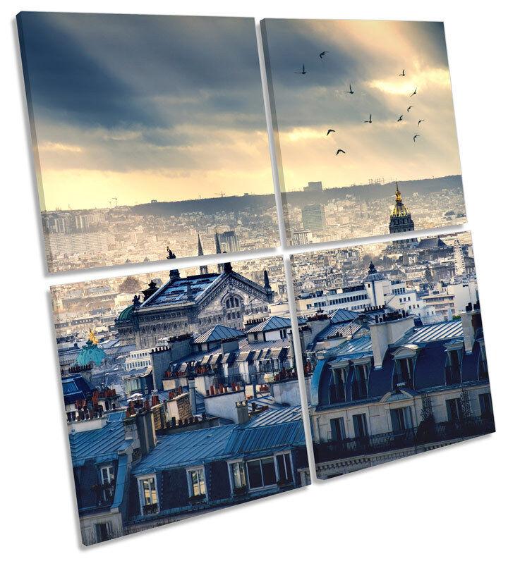 París SKYLINE Cityscape LONA pared arte cuadrado cuadrado arte de impresión de múltiples e0fcb3