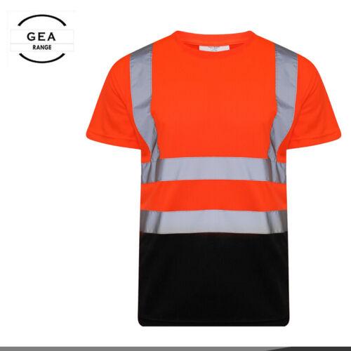 2 Tons Haute Visibilité Worker SAFETY HI VIS à manches courtes T-shirt à encolure ras-du-Cou S-5XL