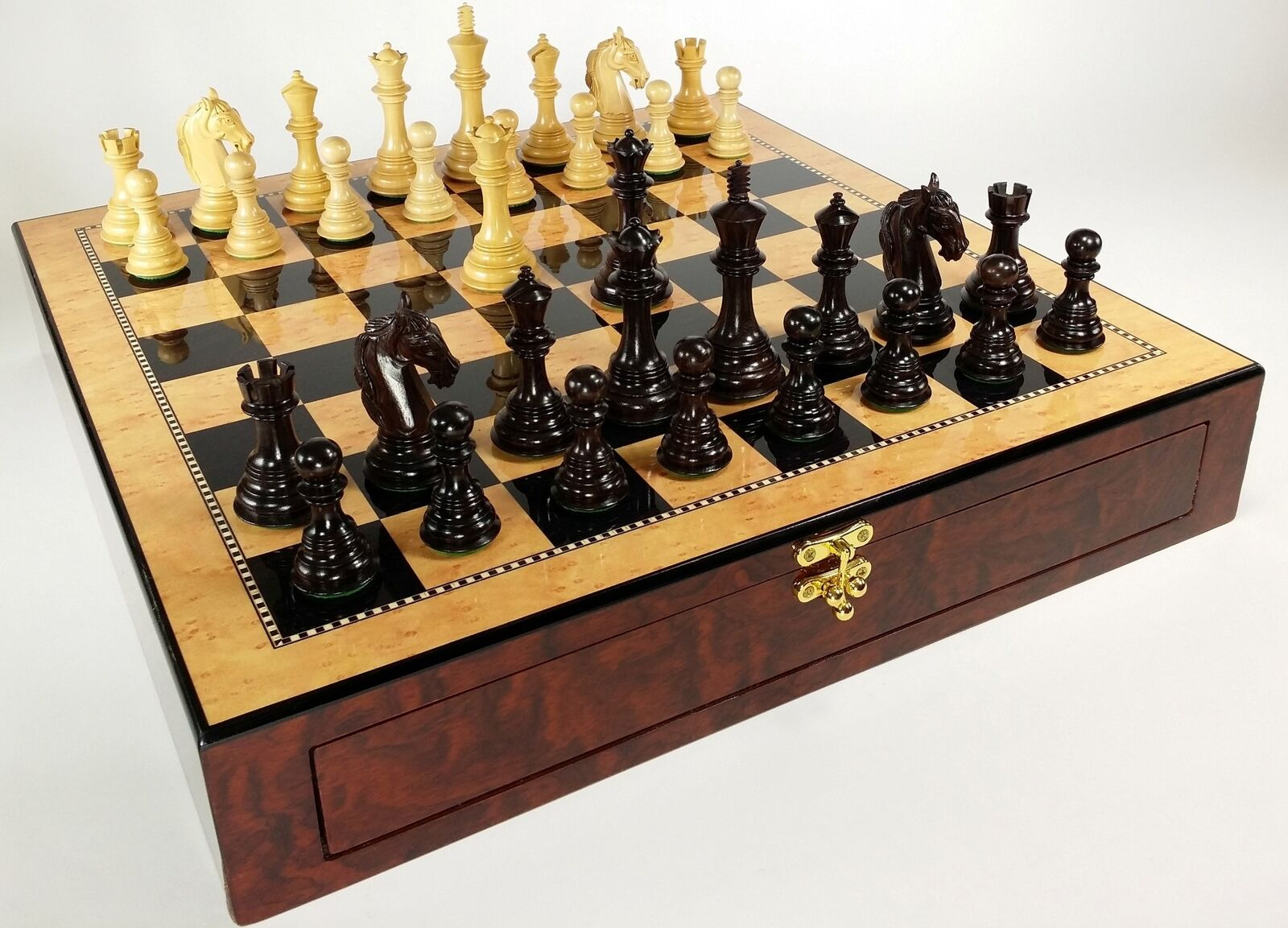 ROSEWOOD Colombian Knight Large Staunton Chess Set 20 Walnut Color STORAGE Board