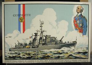 Escort-The-Guepratte-1954-Nantes-Brittany-Mourlot-Stone-Rousseau-Lithography
