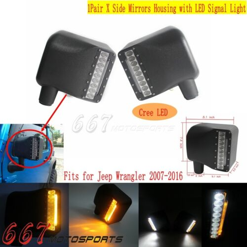 Side View Mirrors Housing w//LED Turn Signal Light DRL For 07-16 Jeep Wrangler