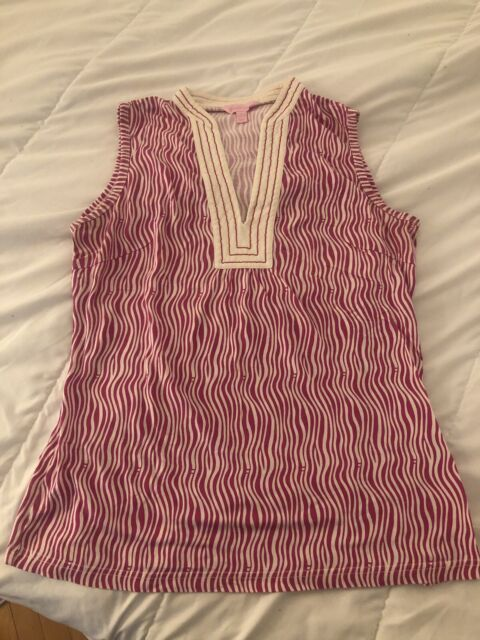 Lilly Pulitzer Tank Top Large Pink and White Lily Pulitzer L Used