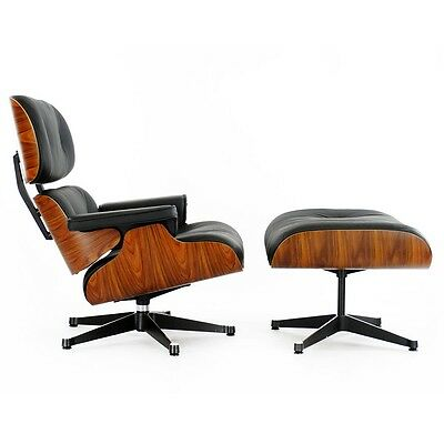 Cool Classic Lounge Chair Ottoman Black Leather And Rosewood Ebay Ncnpc Chair Design For Home Ncnpcorg