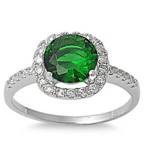 Halo Green Emerald /& Cz .925 Sterling Silver Ring Sizes 5-10