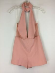 b362d6165b9 Fashion Nova Womens M Medium Mauve Pink Mesh Cut Out Halter Low V ...