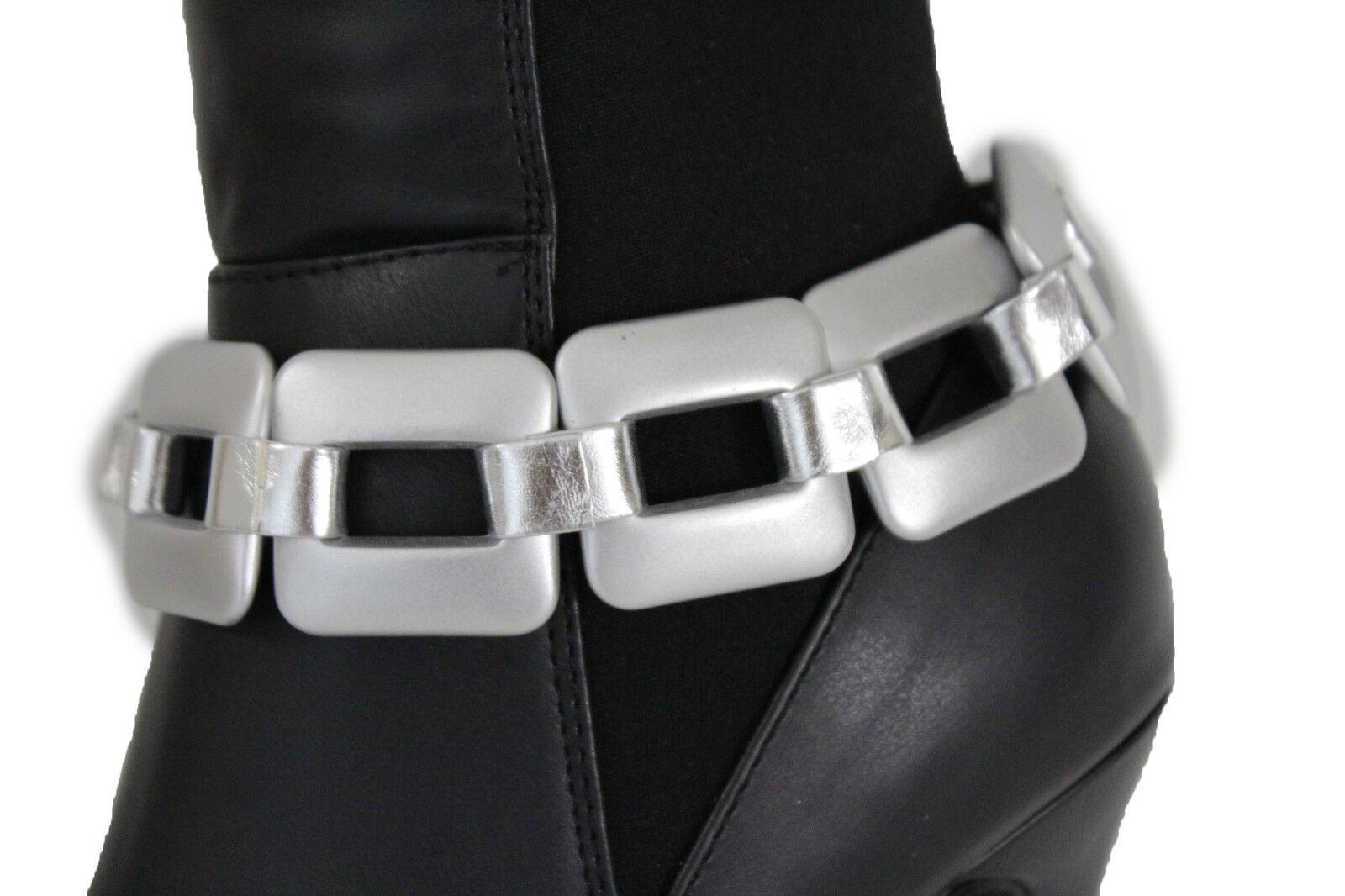 Women Shiny Silver Chunky Chain Link Boot Bracelet Shoe Charm Big Square Western