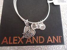 ALEX AND ANI LOVE IV Russian Silver Finish Bangle Bracelet New W/Tag Card & Box