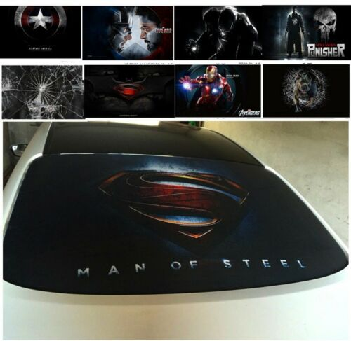 3D Transparent Car Back Rear Window Decal Vinyl Sticker Superman Iron Man