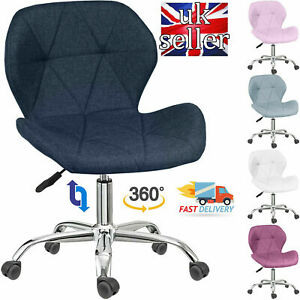 Cushioned Fabric Computer Desk Office Chair Chrome Legs Lift Swivel Adjustable