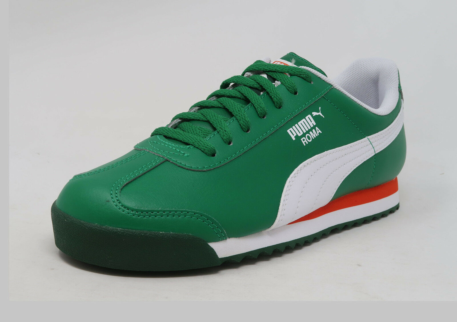 PUMA Roma Basic Jr Green White Red Lace Up Fashion Youth Boy Sneakers Kid shoes