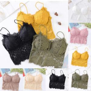 Women-Lace-Floral-Padded-Bralet-Bras-Bustier-Crop-Tops-Cami-Tank-Tops-Vest-Tee