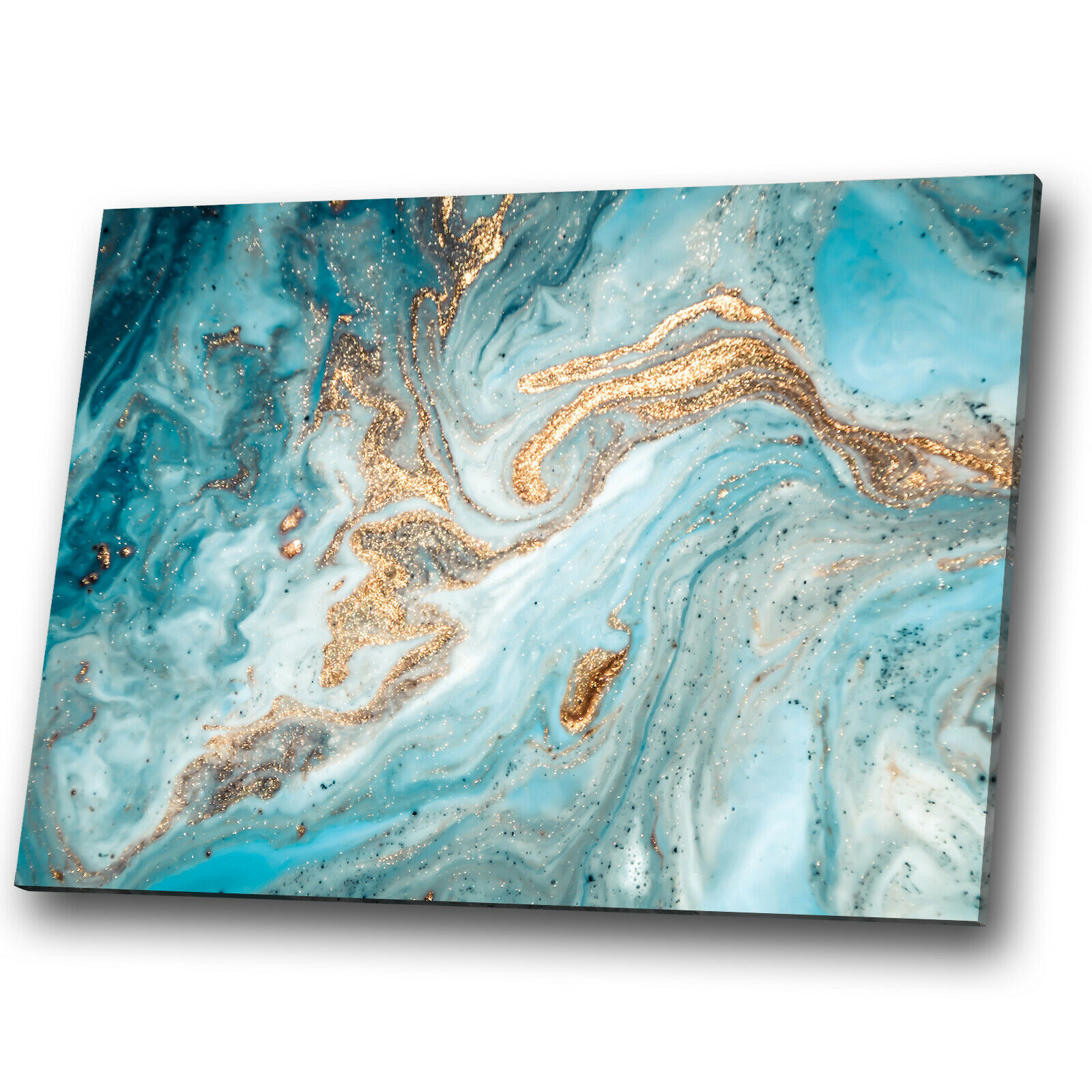Blau Teal Weiß Gold Marble Abstract Canvas Wall Art Large Picture Prints