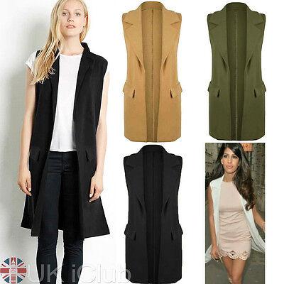 UK Womens Waistcoat Long White Blazers Ladies Sleeveless Cardigan Jacket Tops