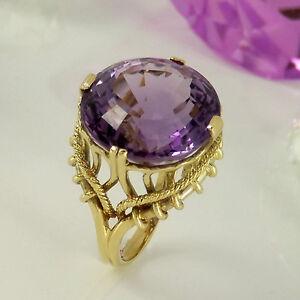 Ring-in-585-Gelbgold-14K-mit-1-Amethyst-16-9-mm-sehr-schoen-gefasst-Gr-57