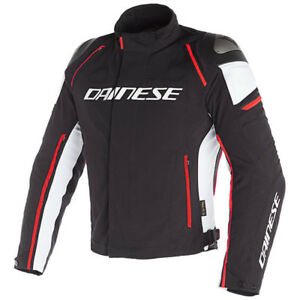 Dainese-Men-039-s-Racing-D-3-D-Dry-Waterproof-Jacket-Black-White-Fluo-Red-Size-52-EU