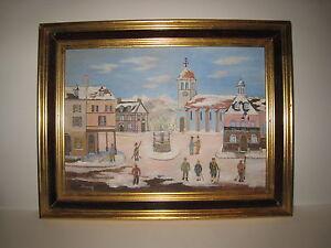 Claude-BOUSSIER-VILLAGE-DU-JURA-Huile-sur-toile-ART-NAIF