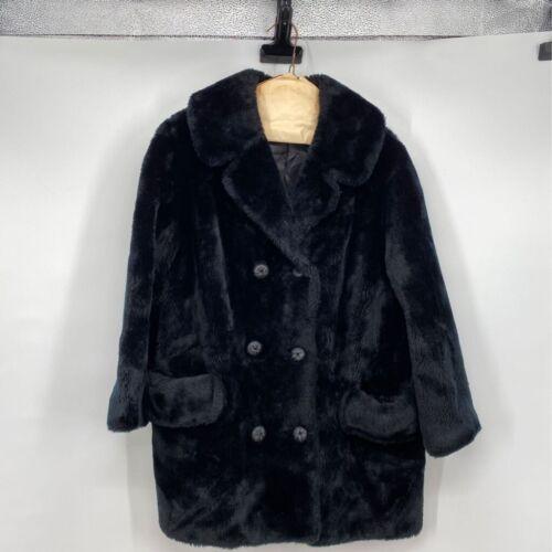 60s vintage Borgana black fur button down coat with pocketsrockabilly fashionpinup retro coatvintage fur pea coatsize small