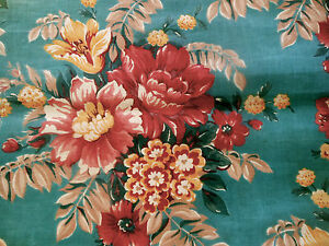 Antique Floral Cotton Fabric ~ Peacock Teal Blue Wine Mustard ~ stunning 1930's