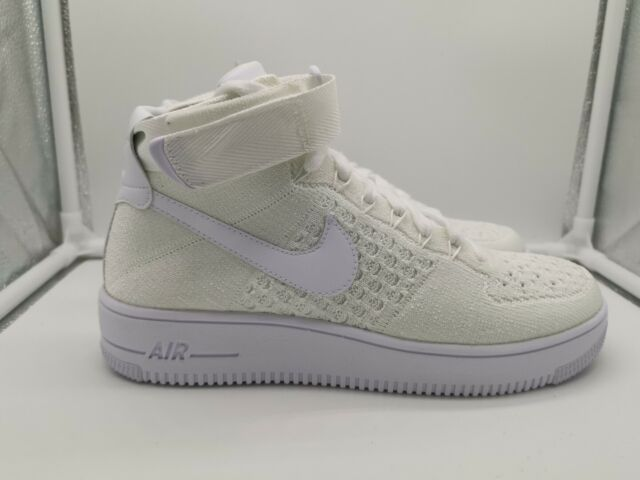 Nike Air Force 1 AF1 Ultra Flyknit Mid UK 6 Triple White 817420 102