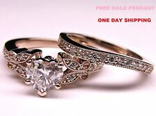 2.50 Ct Diamond Heart Shape Engagement Wedding Ring Set in Rose Gold Over Silver
