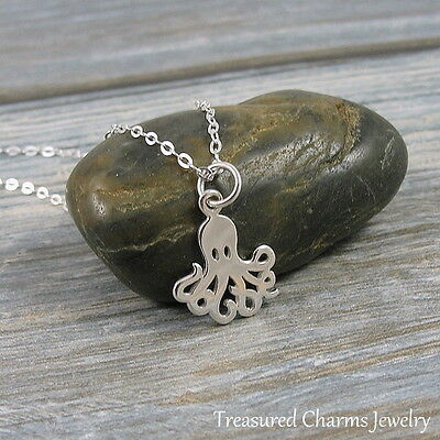 925 Sterling Silver Octopus Charm Necklace Sea Creature Nautical Jewelry NEW